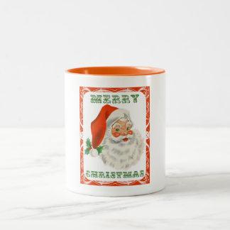 Vintage Papá Noel retro de las Felices Navidad Taza Dos Tonos