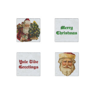 Vintage Papa Noel Set of 4 Marble Magnets Stone Magnet
