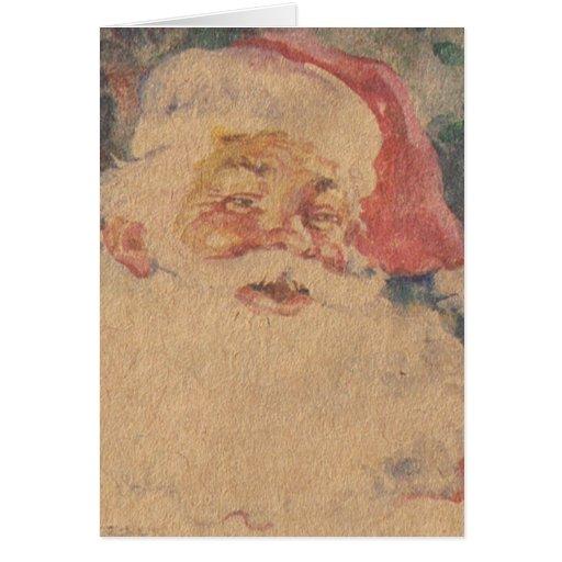 Vintage Papá Noel Tarjeta De Felicitación