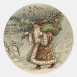 Vintage Papá Noel y árbol de navidad Pegatina Redonda