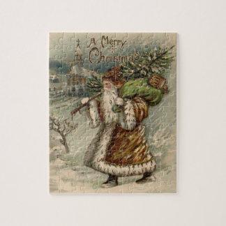 Vintage Papá Noel y árbol de navidad Puzzle