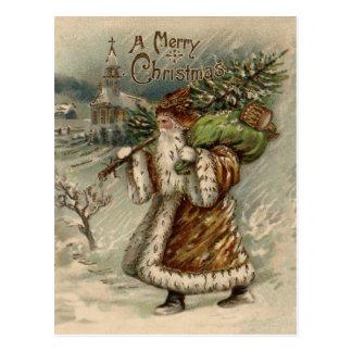 Vintage Papá Noel y árbol de navidad Postal