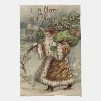 Vintage Papá Noel y árbol de navidad Toalla