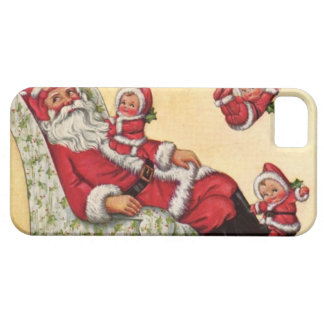 Vintage Papá Noel y bebé cansados Santas el jugar iPhone 5 Fundas