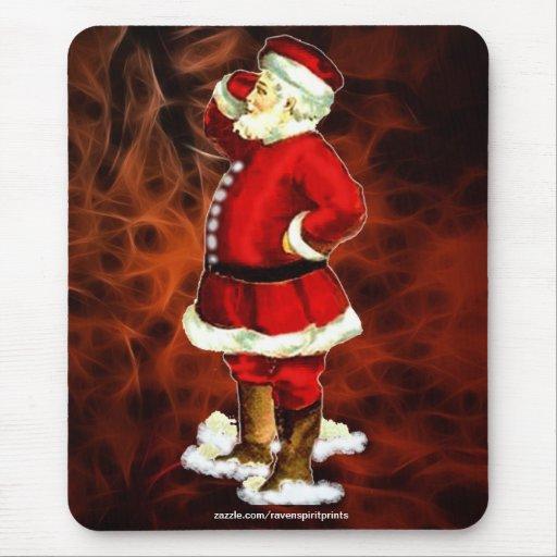 Vintage Papá Noel y Navidad roja Mousepad 2 del fr Tapete De Ratones