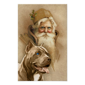 Vintage Papá Noel y perro del pitbull del mascota Posters