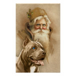 Vintage Papá Noel y perro del pitbull del mascota Póster