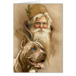 Vintage Papá Noel y perro del pitbull del mascota Felicitación