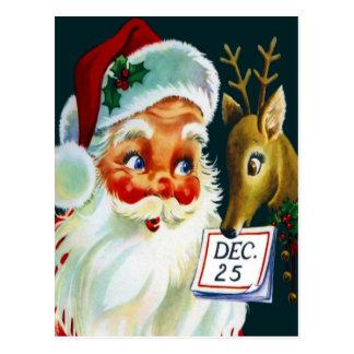 Vintage Papá Noel y postal del navidad del reno