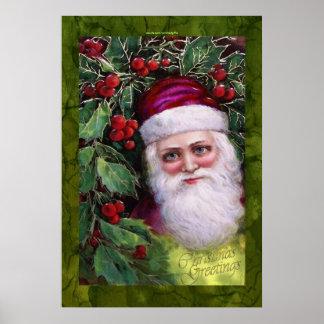Vintage Papá Noel y poster del navidad de Bush del