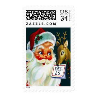 Vintage Papá Noel y sellos del navidad del reno