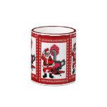 Vintage Papá Noel y una hornilla de la estufa del  Taza De Café