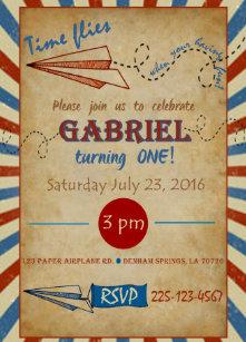 Vintage Paper Airplane Birthday Invitation