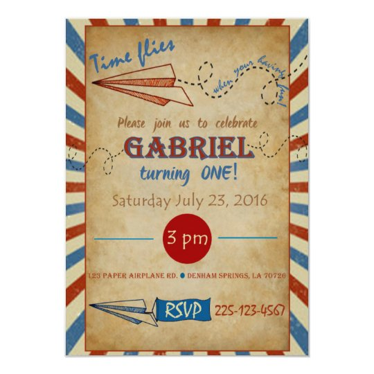 Vintage Paper Airplane Birthday Invitation