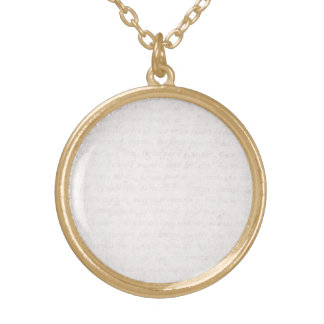 Vintage Paper Antique French Script Writing Blank Gold Plated Necklace