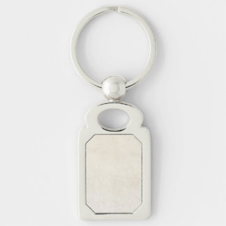 Vintage Paper Antique Ivory Parchment Background Silver-Colored Rectangular Metal Keychain