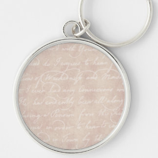 Vintage Paper Antique Script Writing Parchment Silver-Colored Round Keychain