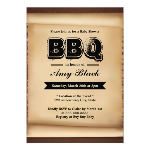 Vintage Paper Baby Shower BBQ Party Invitations