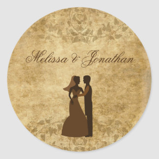 Vintage paper Bride Groom Wedding Once upon a time Classic Round Sticker