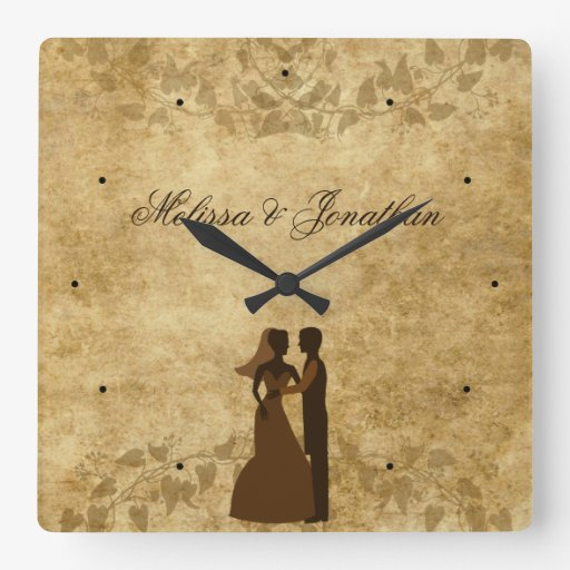 Vintage paper Bride Groom Wedding Once upon a time Square Wall Clock