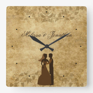 Vintage paper Bride Groom Wedding Once upon a time Square Wall Clocks