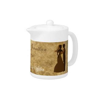 Vintage paper Bride Groom Wedding Once upon a time Teapot