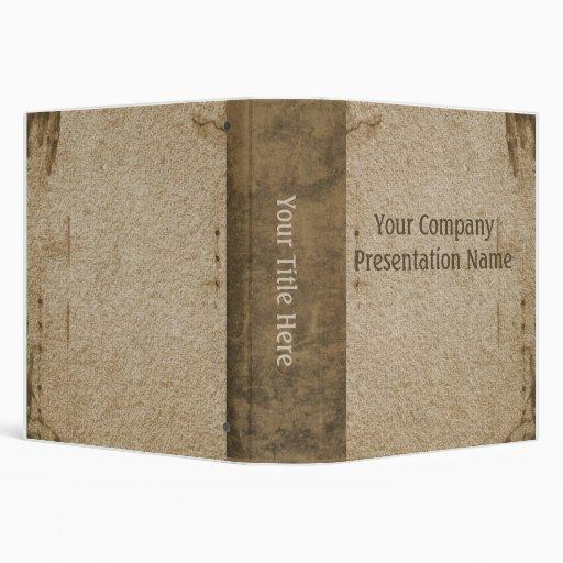 Vintage Paper Business Tan Vinyl Binder