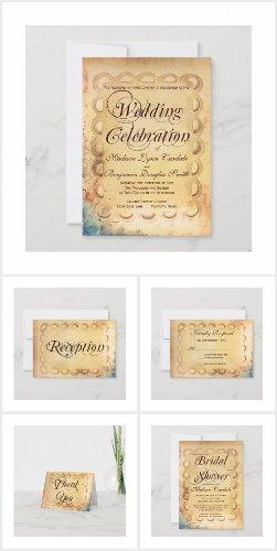 Vintage Paper Distressed Wedding Invitation Set