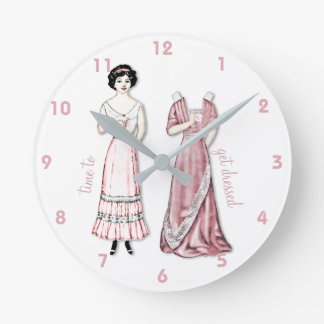 Vintage Paper Doll in Pink for the Ladies Round Clock