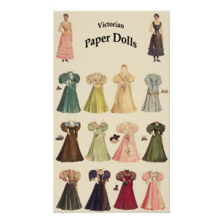 Vintage Paper Dolls, 2 of 2, Cream Background Poster