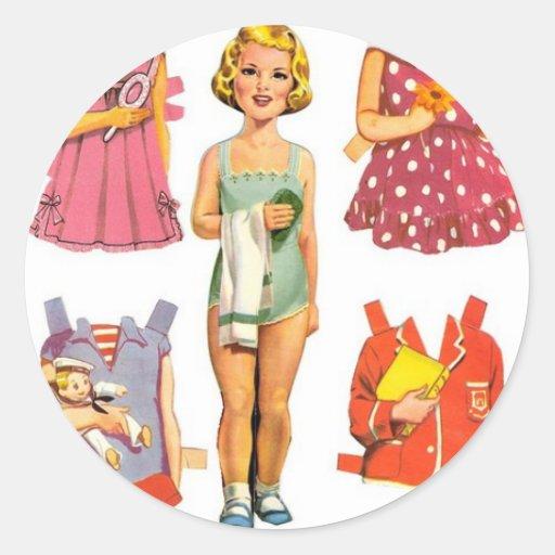 Vintage Paper Dolls Classic Round Sticker