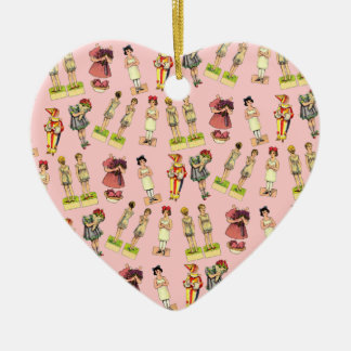 Vintage Paper Dolls Double-Sided Heart Ceramic Christmas Ornament
