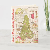 "Vintage Paper Dolls ""Have a Very Merry Christmas"" Holiday Card"
