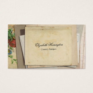 Vintage Paper Ephemera Stacked Antique Look Business Card