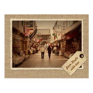 Vintage Paper Frame Kawasaki Daishi Temple Street Postcards