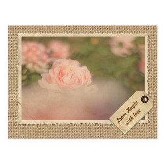 Vintage Paper Frame Travel Tag Autumn Rose Burlap Postcard