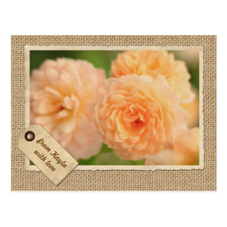 Vintage Paper Frame Travel Tag Peach Rose Burlap Postcard