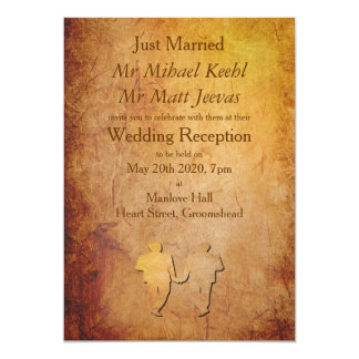 Vintage Paper Gay Wedding Announcement Invitation