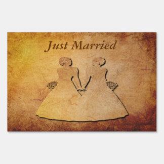 Vintage Paper Lesbian Bride Just Married Yard Sign
