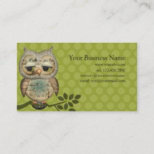 Owl business cards templates zazzle vintage paper owl business cards colourmoves