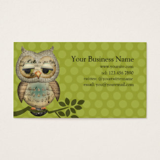 Vintage Paper Owl Business Cards