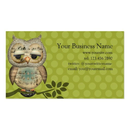 Vintage paper owl business cards zazzle for Owl business cards