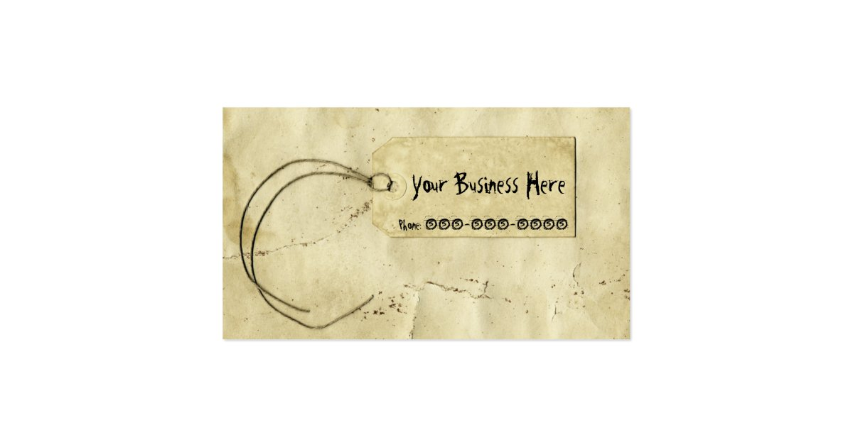 Vintage Paper Price Tag Ink Business Card