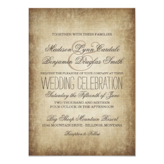 Vintage Paper Rustic Country Wedding Invitations