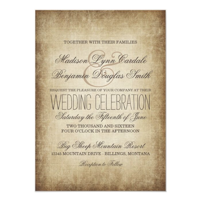 Vintage Paper Rustic Country Wedding Invitations | Zazzle