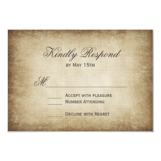 Vintage Paper Rustic Country Wedding RSVP Cards