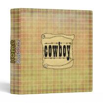 Vintage Paper Scroll Cowboy Print Avery Binder