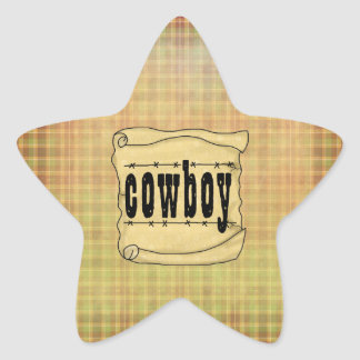 Vintage Paper Scroll Cowboy Star Stickers