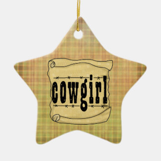 Vintage Paper Scroll Cowgirl Christmas Ornament