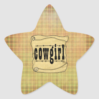 Vintage Paper Scroll Cowgirl Star Stickers